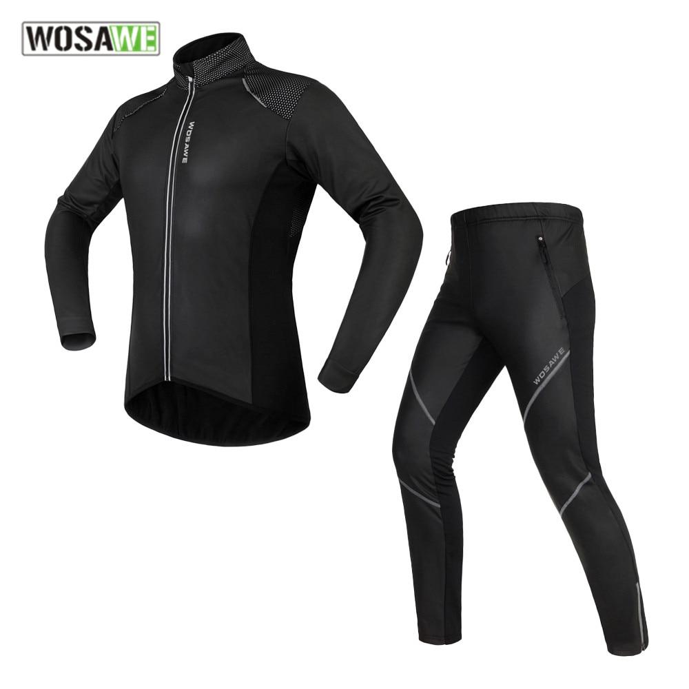 WOSAWE Winter male motocross Jackets Sets Thermal Fleece MTB Bike clothes Windproof Warm Road men motorcycle clothing