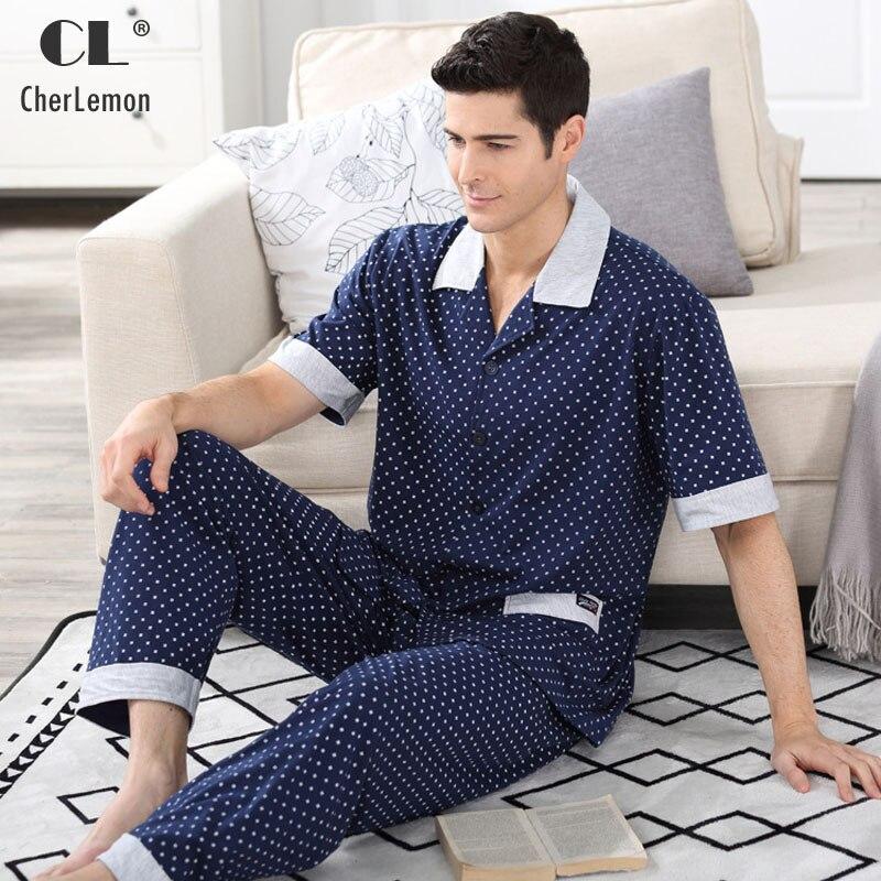 Cherlemon Pyjama-Suit Nightwear Button Male Summer Mens Short With Long-Trousers Dark-Blue
