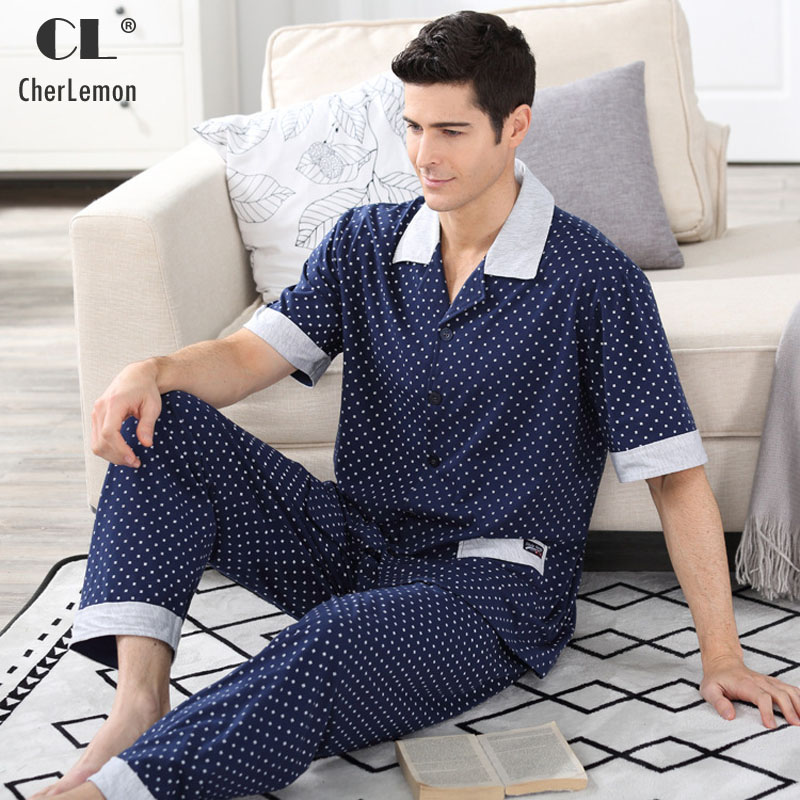 CherLemon Cotton Nightwear Mens Polka Dot Dark Blue Short Sleeve Button Front Pyjama Suit Summer Male Pajamas With Long Trousers