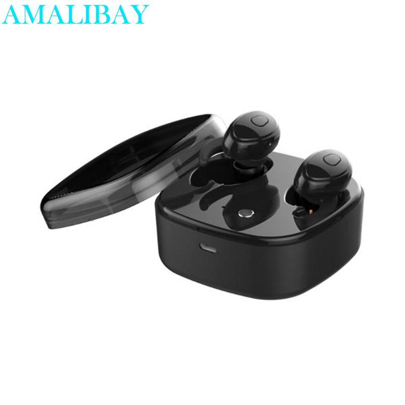 Hifi Mini Bluetooth Headphone Portable 1200mAh Charger Box DSP Noise Cancelling Bluetooth Earphone Wireless Stereo Earbud 1 Pair qcy q25 bluetooth 4 1 earphone wireless noise cancelling headphone