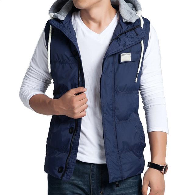Hot new outono e inverno 2016 homens boutique de moda casual Magro tampa destacável grosso quente cor sólida XL colete jaqueta