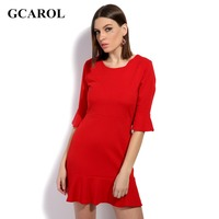 GCAROL 2017 New Women Ruffles Dress 3/4 Sleeve Fit And Flare Red Cotton&Spandex Stretch Fashion Basic Dress For Ladies