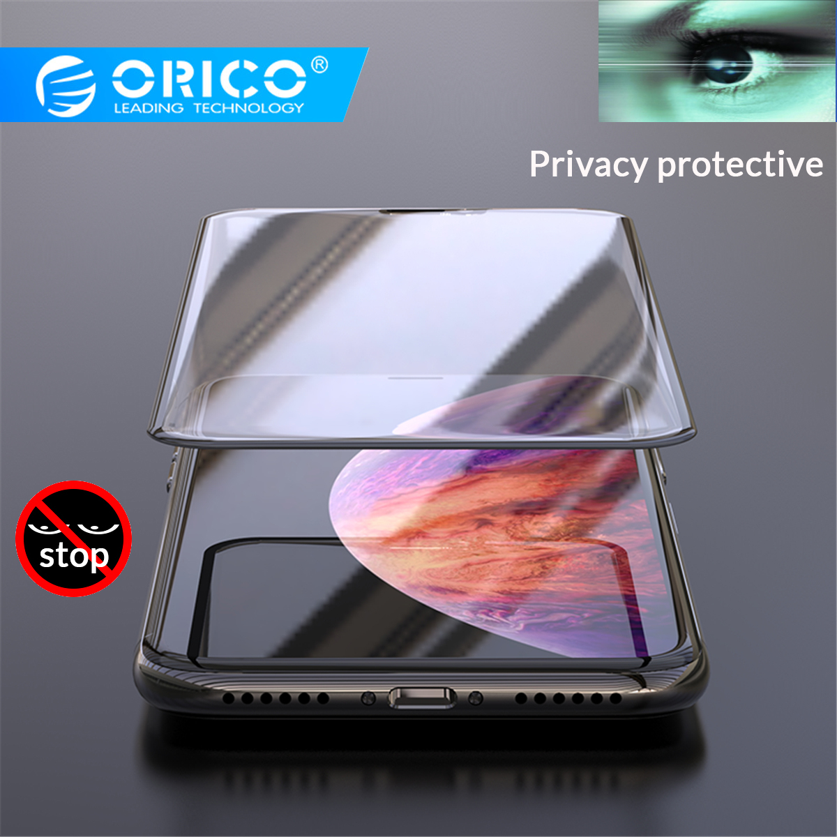 ORICO Black Anti Peeping Privacy Screen Protector For Iphone X XS XR Anti-spy Protective Glass On IPhone 6S 7 8Toughened Glass