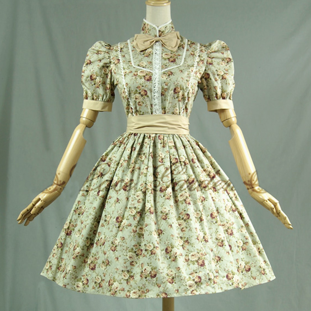 New 2016 women summer bodycon dress vintage lolita dress ladies Floral casual dress lolita costume custom