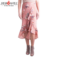 Sebowel Summer Ruffle Bohemian Skirt Floral Printed Asymmetrical Midi Skirts Womens Sexy Wrap Skirt Women Beach