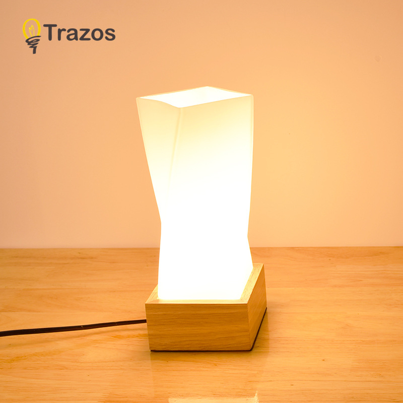 TRAZOS Wooden Table Lamp With Grass Lampshade Wood Bedside Desk lights Modern Book Lamps 110V US Plug Reading Lighting Fixture wooden table lamp with fabric lampshade wood bedside desk lights modern book lamps e27 110v 220v reading lighting fixture