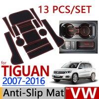 For VW Tiguan 2007 2016 Anti Slip Rubber Cup Cushion Door Mat 13pcs Volkswagen 2009 2011