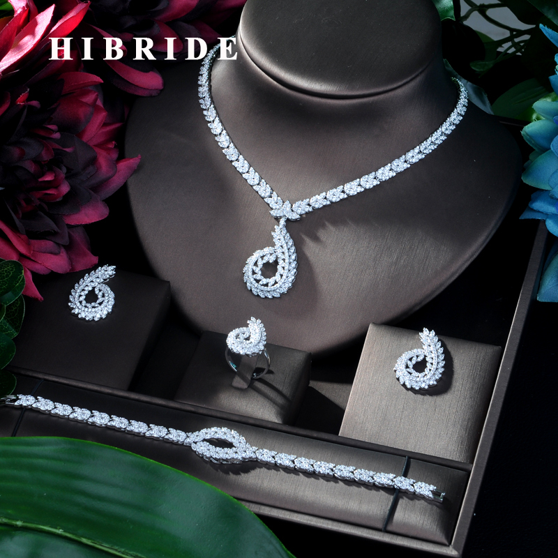 HIBRIDE Fashion Engagement Party 4pc Jewelry Set With White full Zircon New Geometric Design Bridal Jewelry