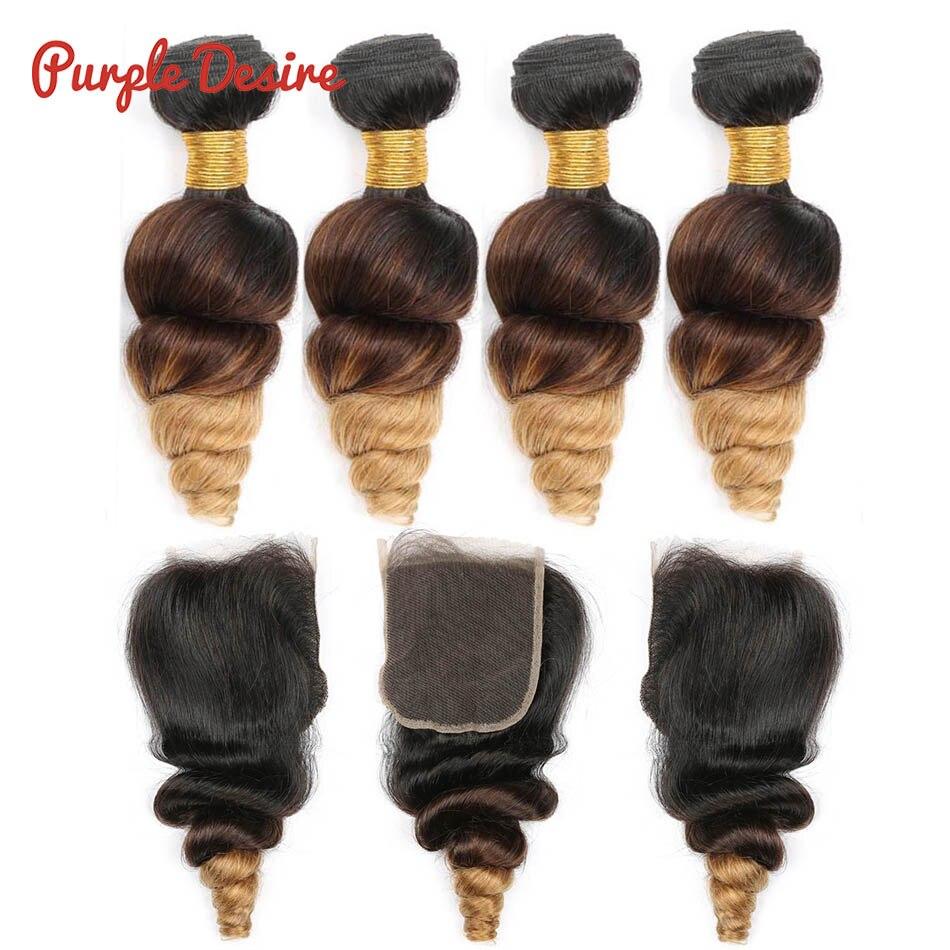 Ombre Bundles With Closure 1B 4 27 Loose Wave Bundles With Closure Brazilian Human Hair 3