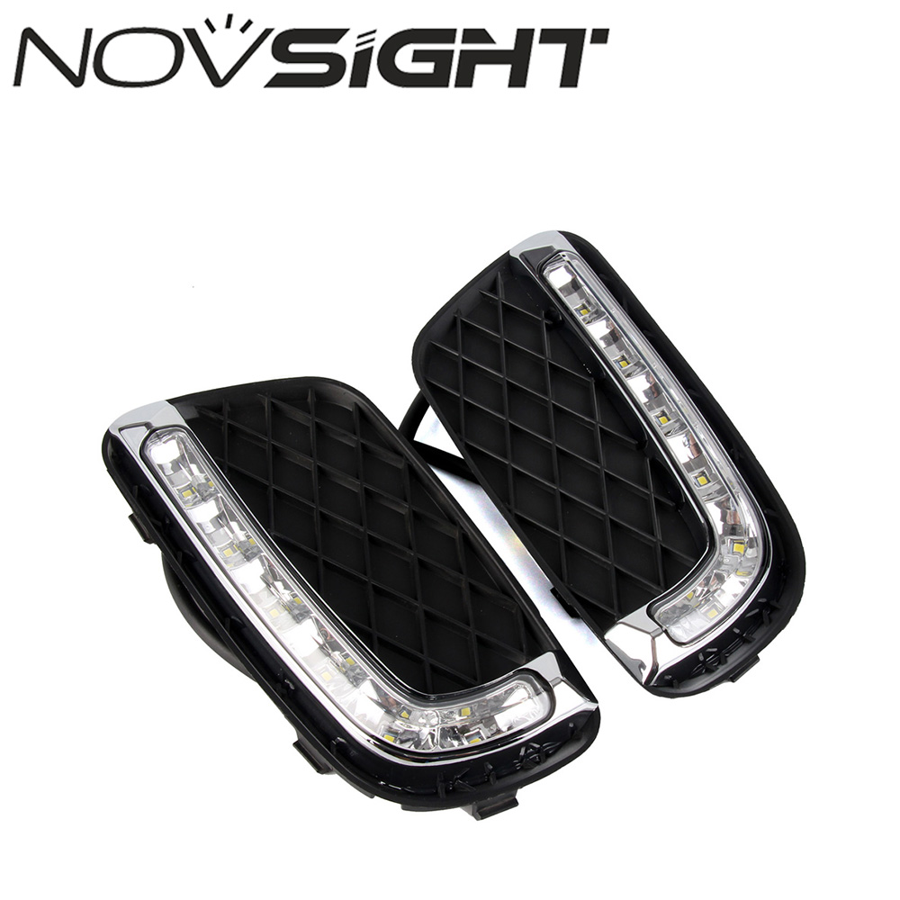 NOVSIGHT Car LED Daytime Running Light DRL Fog Lamp White Daylight For Benz Smart Fortwo 2008-2011 leadtops car led lens fog light eye refit fish fog lamp hawk eagle eye daytime running lights 12v automobile for audi ae