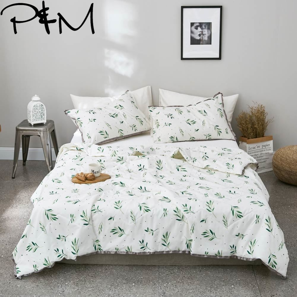 Papa Mima Green leaves print quilted Summer Comforter NO pillowcases Twin Queen Size cotton Fabric Air