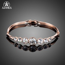 Azora Fashion Perhiasan Emas Rose Warna 7 Pcs Bulat Stellux Austria Crystal Gelang TB0071(China)
