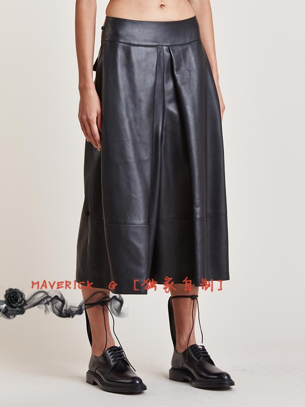 27-44!!2019 European And American PU Culottes For Men And Women With Broad Legs And Seven-point Leather Pants