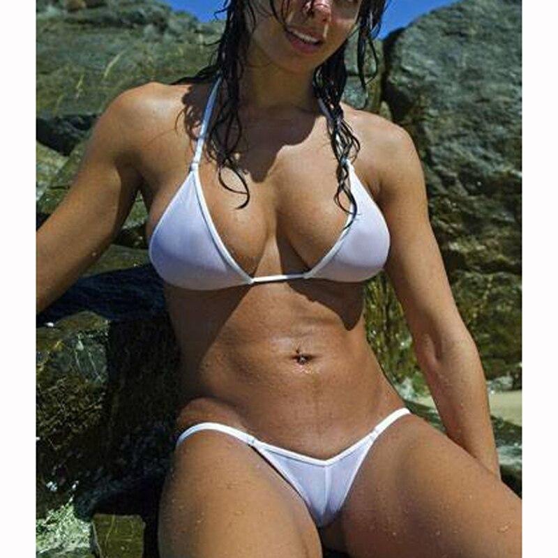 Vedere Attraverso Mesh Micro Insieme Del Bikini Delle Donne Brasiliano di 2018 Sheer Bikini Del Sesso di Nuotata Della Biancheria Costumi Da Bagno Costume Da Bagno Femminile Costume