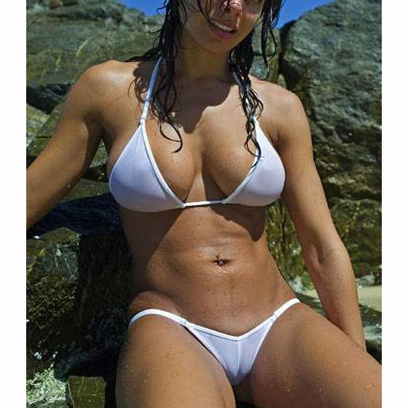Ver a través de malla Micro Bikini de las mujeres es 2018 brasileño pura Bikini sexo nadar ropa interior de baño traje de baño femenino traje
