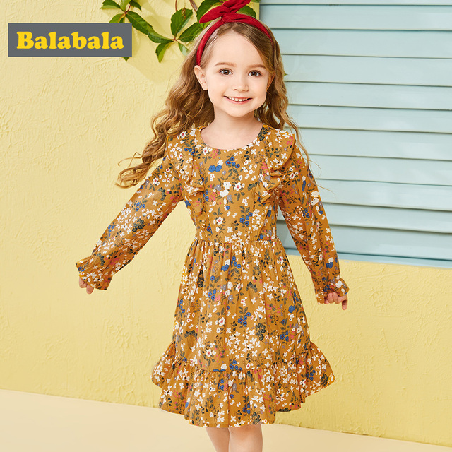 Balabala cotton floral dress for girls with round neck and ruched dresses hem children's autumn dress elegant dress for girls