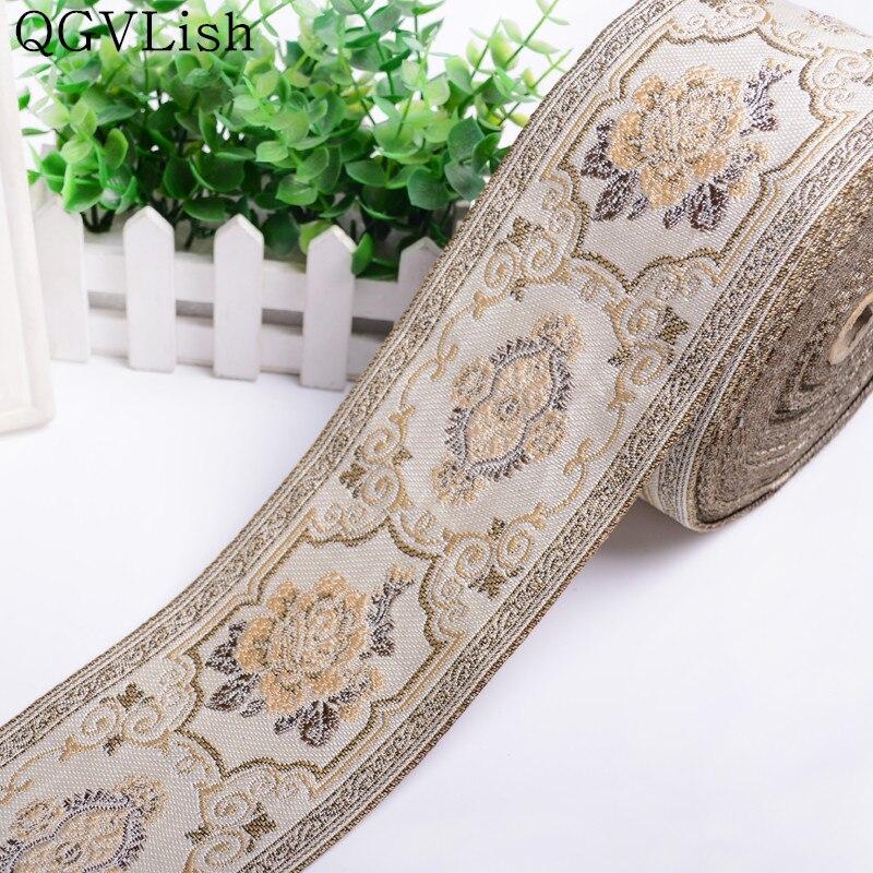 QGVLish 25M/lot 9cm Wide Jacqurd Lace Ribbon Belt Curtain