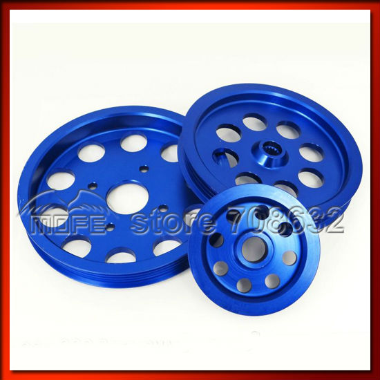 3PCS/SET Crank Pulley Power Steering for Nissan Skyline GTR RB20 RB25 RB26 Blue  free shipping light weight crank pulley new for nissan skyline gtr bnr32 rb26 dett rb20 rb25 underdrive crank pulley yc100829