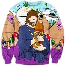 Cloudstyle 2020 Mode Mannen 3D Sweatshirts Grappige Cartoon Jezus 3D Print Longsleeve Crewneck Harajuku Truien Tops Trainingspakken