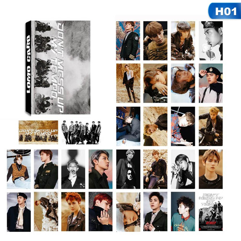 30PCS/box K-POP EXO DON'T MESS UP MY TEMPO Album Self Made Paper Lomo Cards Photo Card HD Photocard Fans Gift
