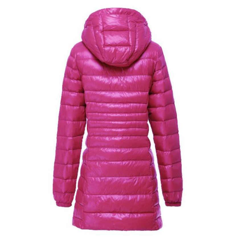 Осенне-зимняя женская ультра легкая пуховая куртка, теплые парки с белым утиным пухом, длинное тонкое легкое пальто с капюшоном, большие размеры S ~ 6XL SF497