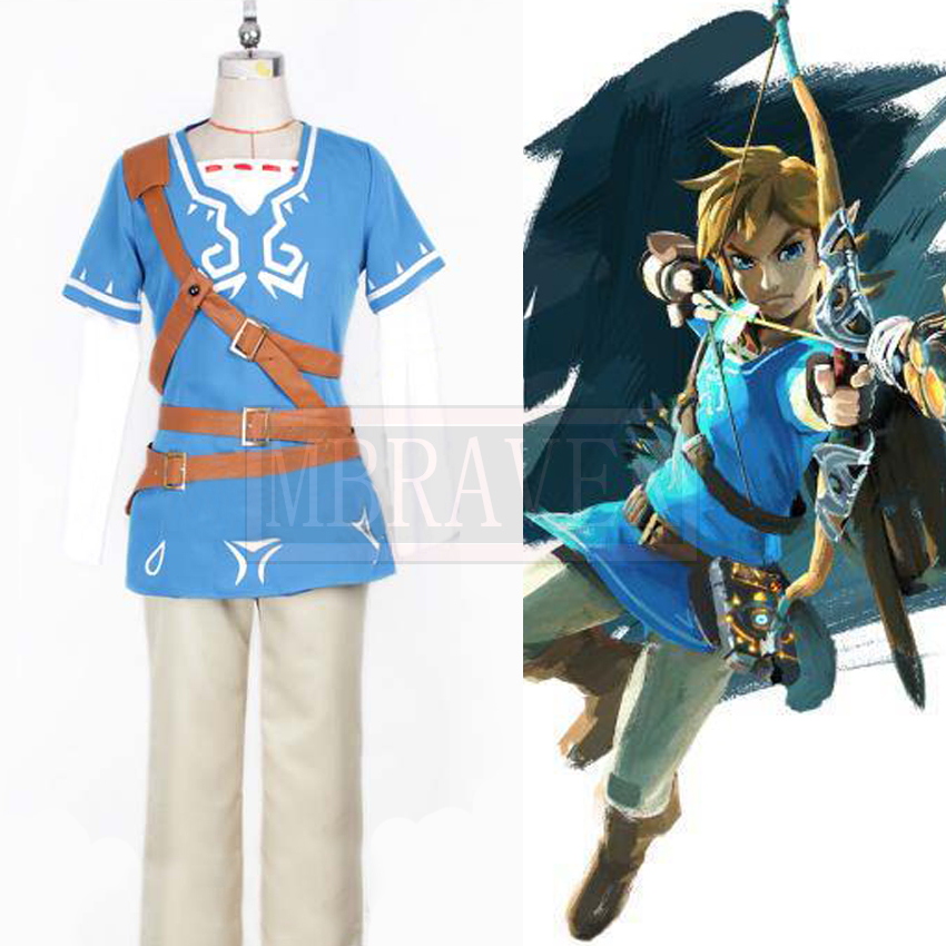 Game Anime The Legend of Zelda WiiU Link Blue Fashion Party Uniforms Cosplay Costume Free Shipping