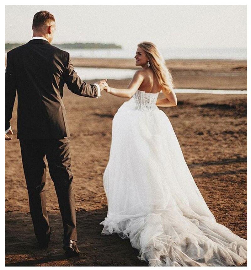 Image 3 - Sodigne 비치 레이스 strapless 비공식 웨딩 드레스 2019 민소매 신부 드레스 레이스 위로 화이트/lvory 웨딩 드레스결혼식 드레스결혼식 및 행사 -