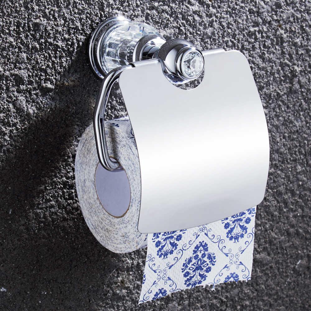 4 stück Chrom Messing Badezimmer Zubehör Set Europäischen Bad Hardware Set Kristall Handtuch Bar Papier Halter Robe haken Metall