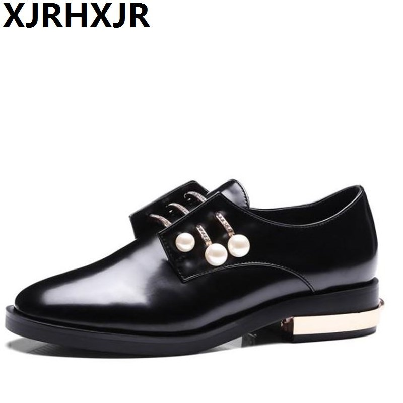 XJRHXJR 2018 Spring Autumn Pearl Women Shoes Low Heel Leather Woman Pumps Lady Lace Up Fashion Brogue Shoes Big Size 33-43 europe america style spring autumn women genuine leather thin high heel lace up low cut fashion denim shoes size 34 41 sxq0709