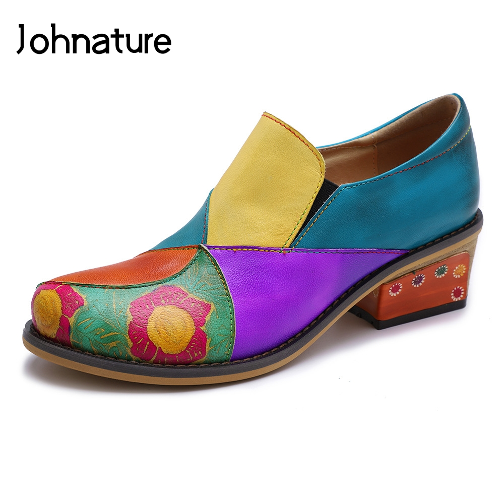 Johnature 2019 New Spring autumn Genuine Leather Round Toe Square Heel Leisure Handmade Mixed Colors Sewing