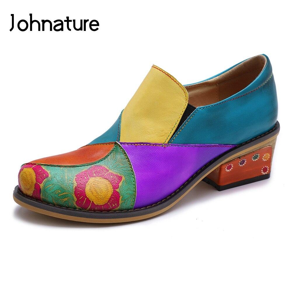 Johnature 2019 nowa wiosna/jesień prawdziwej skóry okrągłe Toe kwadratowe obcasy rozrywka ręcznie mieszane kolory szycia pani buty pompy w Buty damskie na słupku od Buty na  Grupa 1