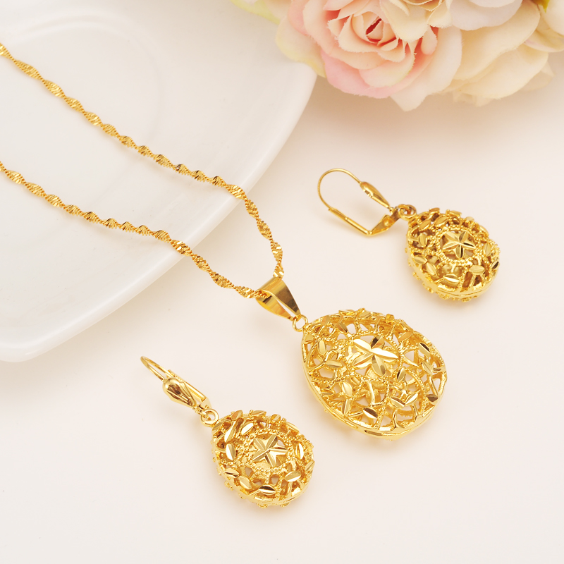 Gold dubai plant flower geometry Jewelry Sets Earrings Pendant necklace chain African bridal Habesha Women Party wedding gifts