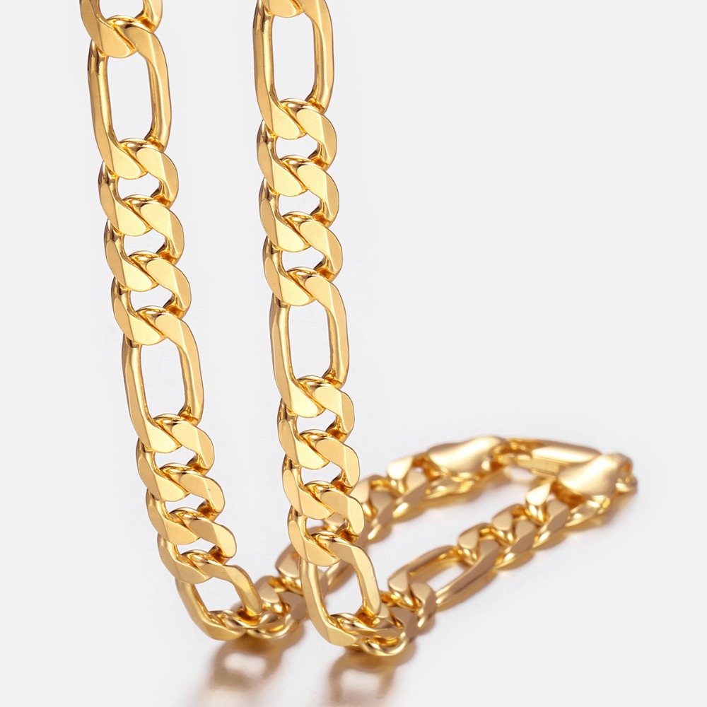 Wholesale Jewelry Gold Filled Us 3 49 30 Off Trendsmax Men S Necklace Women Gold Filled Figaro Link Chain Necklace For Men Male Jewelry Wholesale 9mm 18 36