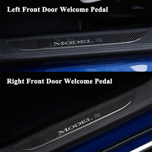 Image 5 - 2pcs/set Styling Carbon Fiber Car Front Door Sill Welcome Pedal Decoration Sticker Protector Cover Accessories for Tesla Model S