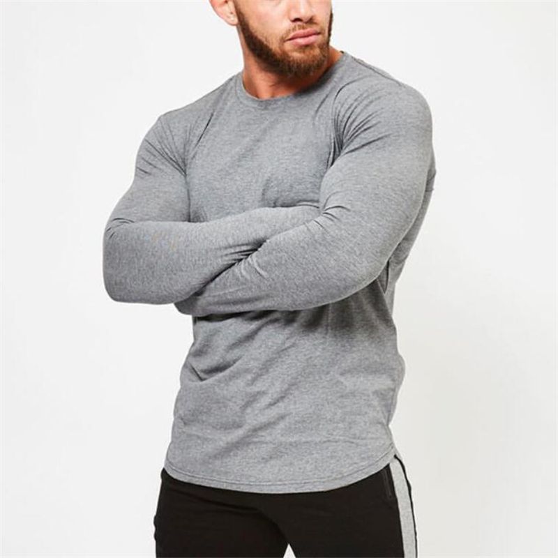 Brand fashion Mens longsleeve   t     shirt   2018 Spring Autumn Slim Fitted   T  -  shirts   male Tops Leisure Bodybuilding Long Sleeve tees
