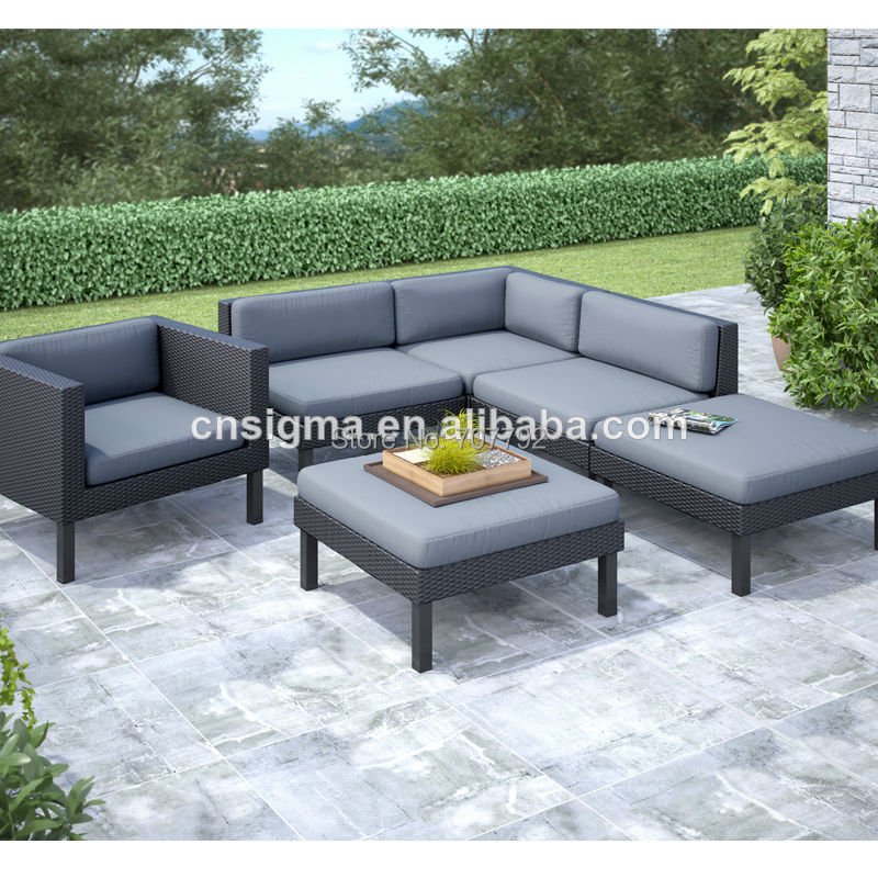 2017 Best Selling Outdoor Furniture Grey Rattan Wicker Luxury Sofa Sets