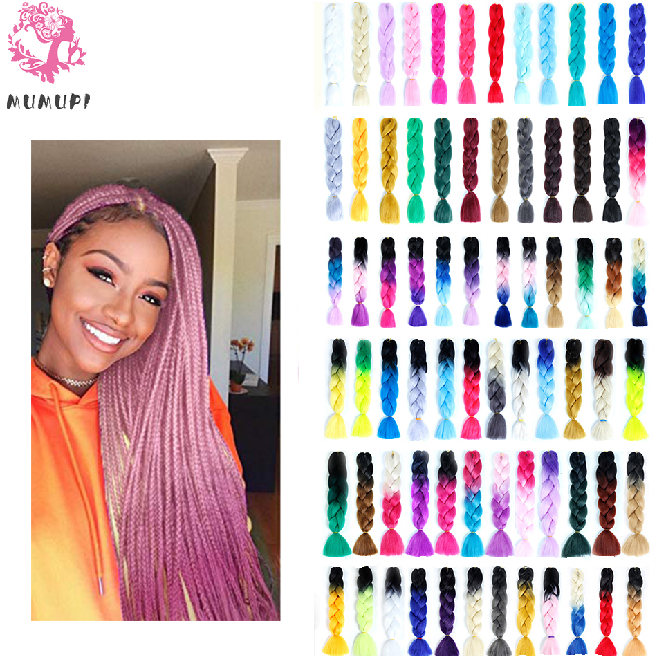 Mumupi New Fashion Women Ombre Synthetic 24100g/pack High Quality Synthetic Jumbo Braids Straight Hair Extensions Headwear Apparel Accessories