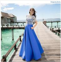2016 Lace Satin Prom Dresses Sexy Full Satin Ball Gown With Lace Bodice 50495 Party Dresses