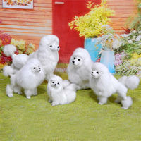Freeshipping 1pc Miniature Handmade Fur Poodle Dog Lifelike Figure Toy Animal Cake Home Office Car Decoration