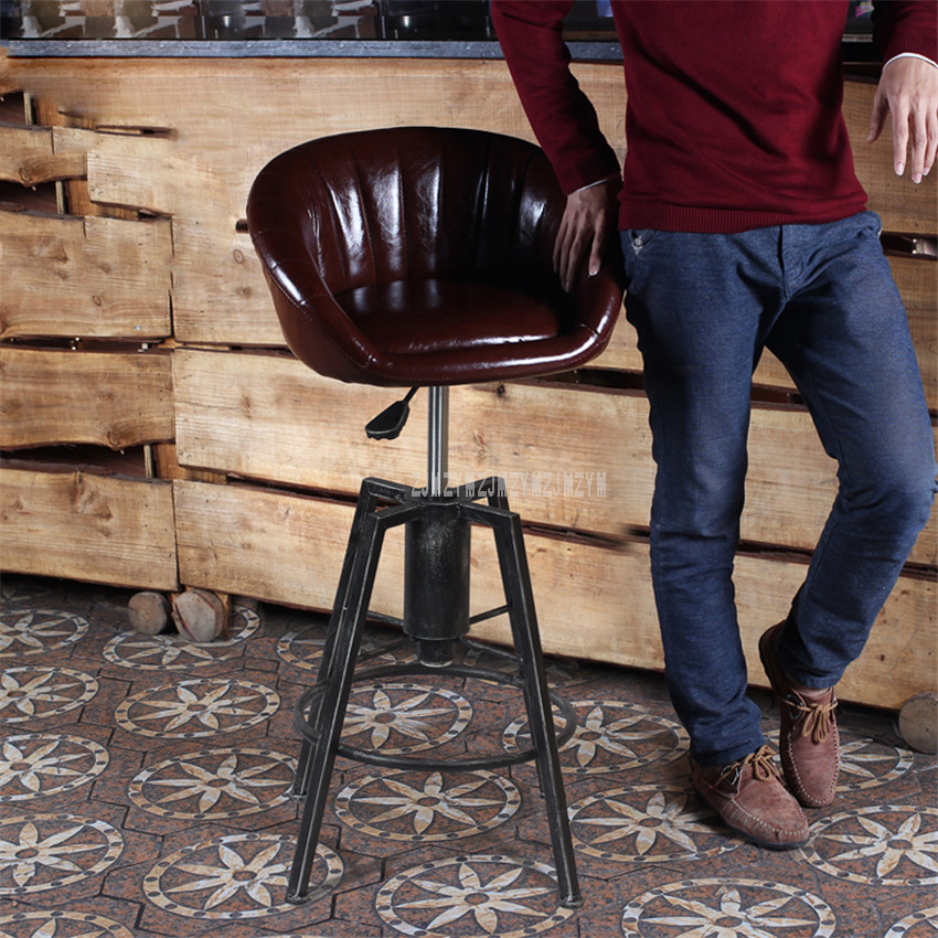 Lifting Swivel Counter Mordon Bar Chair 84 98CM Height Adjustable Iron Rotating High Bar Stool Chair PU Leather Soft Backrest