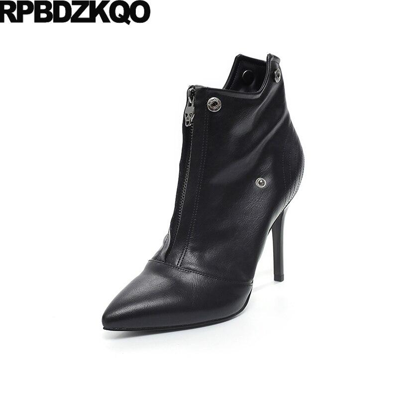 966a9c55a54ca5 Hiver Noir À Suede Sexy Bottes Talons 6cm black Bout De Métal Côté Cheville  forme Plate Zip Court Fourrure Leather Chaussures ...