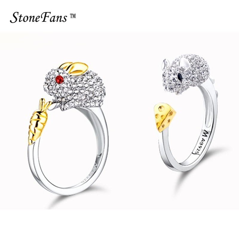 StoneFans 12 Kinds Rings For Women Crystal Party Chinese