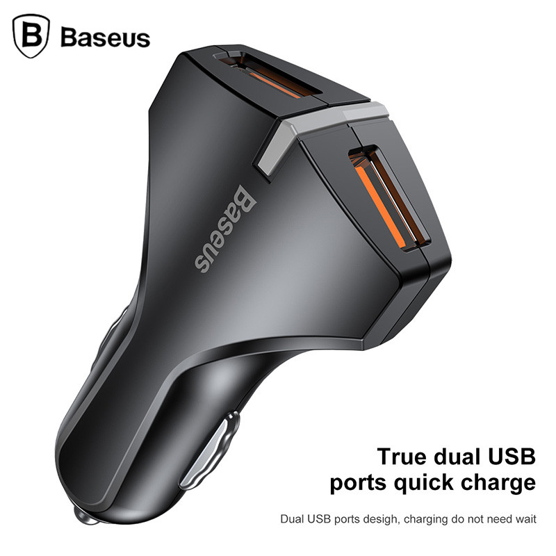 Baseus Dual USB Car Charger Fast Charge 5v/9v/12V Mobile Phone Car-charger adapter for iPhone 8 Samsung Xiaomi Car Phone Charger