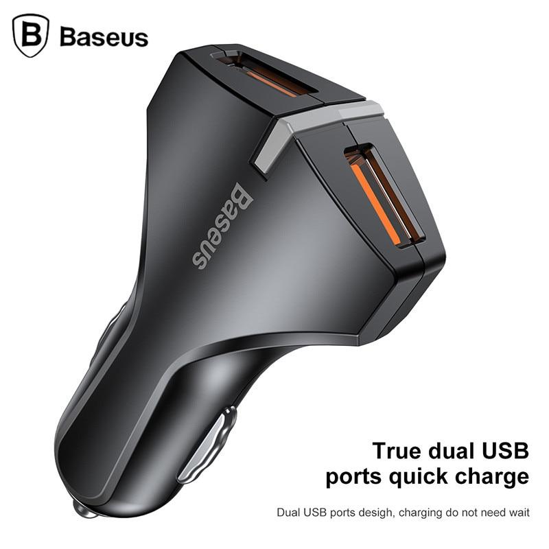 Baseus Dual USB Car Ladegerät Schnellladung 5 v/9 v/12 V Handy Auto-ladegerät adapter für iPhone 8 Samsung Xiaomi Auto-ladegerät