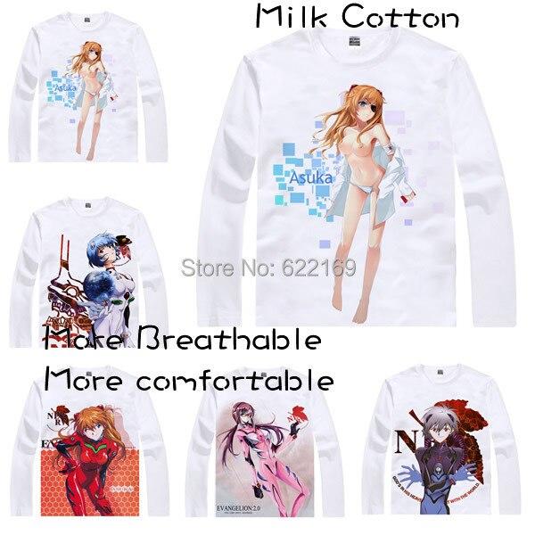2015 Для мужчин уникальная аниме футболка 3D печати Ева Евангелион Rei Ayanami с длинным рукавом Повседневное футболка Camisetas masculina