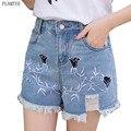 Women Embroidered Flowers Denim Shorts 2017 Vintage Tassel Jean Short Pants Casual Irregular High Waist Pantalon Femme S~XL