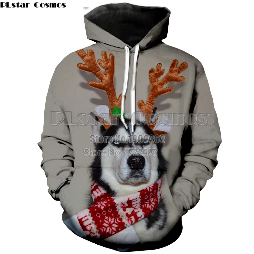 PLstar Cosmos Newest Christmas Hoodie 3D funny dog Design All-over Printed Unisex Hooded Sweatshirts Pullovers Dropship