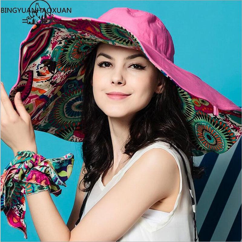 BINGYUANHAOXUAN Sun Hats ! Hats Sun Hats For Women Summer Large Beach Hat Flower printed wide brim