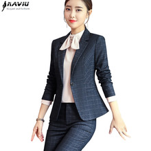 Women pants suit long sleeve blazer and pant office ladies plus size work wear