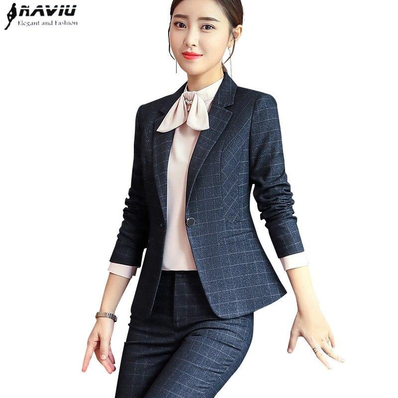 Nieuwe Mode plaid broek pak vrouwen temperament zakelijke Interview lange mouw blazer en broek office dames plus size werkkleding-in Broekpak van Dames Kleding op  Groep 1